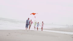 Happy Caucasian Family Group Warm Clothes Fall Flying Kite Stock Footage