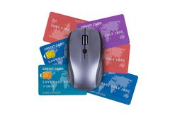 Stock Illustration of credit cards with mouse