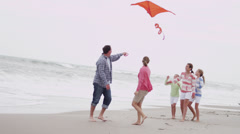 Parents Three Young Caucasian Daughters Beach Kite Stock Footage