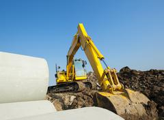 Backhoe working Stock Photos