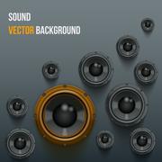 Sound load speakers on dark background. Stock Illustration