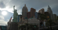 Stock Video Footage of 4K video of the New York New York Hotel and Casino in Las Vegas, Nevada