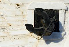 Black boat anchor Stock Photos