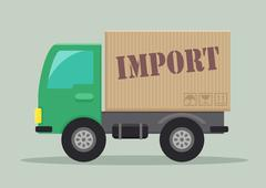 delivery truck import - stock illustration