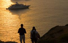Sunset at Sounion Greece Stock Photos