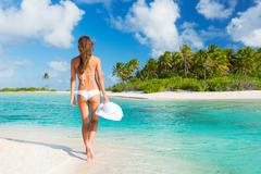 Woman relaxing tropical island Stock Photos