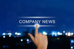 hand pushing company news button on touch screen - stock illustration
