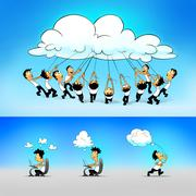 People working and connected through the cloud. - stock illustration