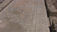 Stock Video Footage of Ancient Roman floor mosaic ruins covering a long corridor