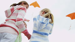 Family Three Caucasian Sisters Beach Toy Kite Summer Stock Footage