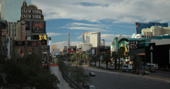 4K video of the Las Vegas strip with New York New York in front and Paris behind Stock Footage