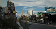 Stock Video Footage of 4K video of the Las Vegas strip with New York New York in front and Paris behind
