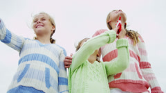 Young Caucasian Sisters Wearing Sweaters Fall Beach Kite Stock Footage