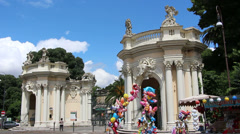 Entrance of Villa Borghese Zoo in Rome Stock Footage