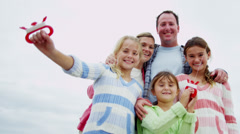 Healthy Caucasian Family Group Playing Toy Kite Fall - stock footage