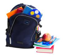 Open school backpack with stationery Stock Photos
