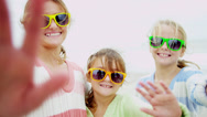 Family Three Caucasian Sisters Posting Online Selfie Fall Stock Footage