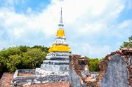 Stock Photo of brothers pagoda on the top of dang mountain at songklha province, thailand