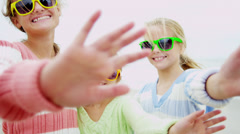 Portrait Young Caucasian Girls Outdoors Waving Camera Stock Footage
