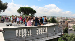 Outlook point on Rome from Villa Borghese Stock Footage