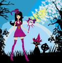 Halloween witch and her cat Stock Illustration