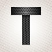 Letter metal ribbon - T - stock illustration