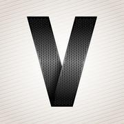Letter metal ribbon - V - stock illustration