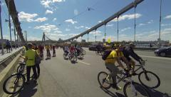 Tens of thousands of Russian cyclists ride in the center of Moscow Stock Footage