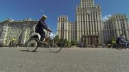 Stock Video Footage of Tens of thousands of Russian cyclists ride in the center of Moscow