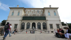 Villa Borghese gardens in Rome Italy Stock Footage