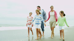 Parents Young Daughters Fall Beach Vacation Stock Footage