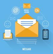 envelope with message and email technology - stock illustration