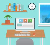 modern office interior with designer desktop - stock illustration