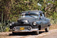 Vinales, cuba-  classic old american car in the village of Stock Photos