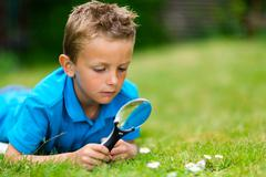 Boy with magnifying glass in garden Stock Photos