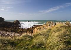 coastal scene on guernsey, - stock photo
