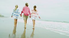 Happy Caucasian Mother Girls Walking Outdoors summer Beach - stock footage