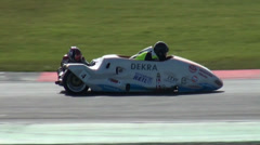 Sidecar motorsports racing close up Stock Footage