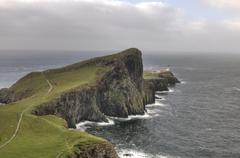 neist point lighthouse in isle of skye, scotland - stock photo