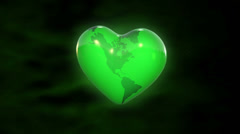 Heart-shaped Earth - Love the green planet Stock Footage
