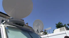 Satelite dishes by tv production - stock footage