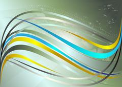 Stock Illustration of Shiny yellow and blue wavy stripes on a green background