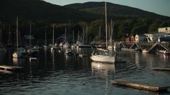 Camden Harbor at sunset, Maine Stock Footage