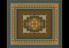 Classic pattern of the carpet in with soothing shades Stock Illustration