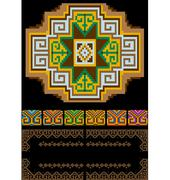 Classic pattern of the rug in with soothing shades - stock illustration