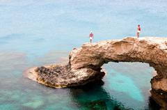 Sea caves  cape greco area in cyprus Stock Photos