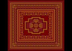 Bright carpet old style in red and burgundy shades - stock illustration