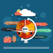 Aviator concept in flat design Stock Illustration