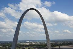 St. Louis Arch and the clouds Stock Photos