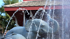 Luxury Outdoor Fountain with sculptures of elephants at a Thai Spa Resort. Video Stock Footage